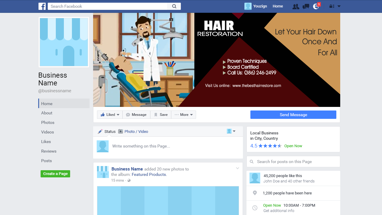 Hair Restoration 1 Facebook Cover Image | Animated & Whiteboard Video Ads & Commercials